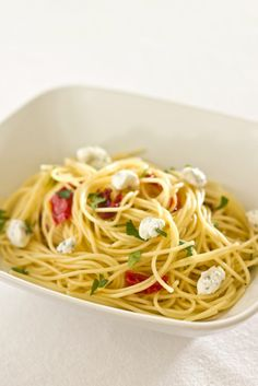 Angel Hair Pasta with Sun Dried Tomatoes and Herbed Goat Cheese