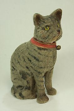 Vintage German Cat Candy Container - Mohair-covered paper mache with glass eyes