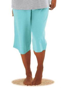 Dreams & Co. Plus Size Capri Sleep Pants By Dreams & Co Aqua,L DREAMS. $14.99