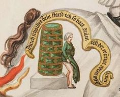 """impresa: woman warms her buttocks against a Kachelofen [tiled stove]. Banderole is rhyming couplet:""""Durch schaides bein stand ich so hart, drum ich der warme vorm offe[n] wart"""" [ can anyone anyone help with the trans?]"""