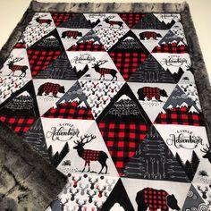 Minky Baby Blanket Boy Woodland Baby Shower Gift Buffalo Plaid Minky B… Quilt Baby, Baby Boy Crochet Blanket, Minky Baby Blanket, Elephant Blanket, Baby Elephant, Crochet Baby, Plaid Quilt, Rag Quilt, Boy Blankets