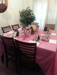 Mary Kay Party Decor. Cute touch with some chilled sparkling juice! Pink tablecloth adds instant color and makes for a catch all for any spills or smudges