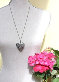 Heart Locket Necklace Antique Silver Black by apocketofposies