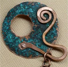 Hammered Rustic Copper Toggle Clasp by SunStones on Etsy, $15.00