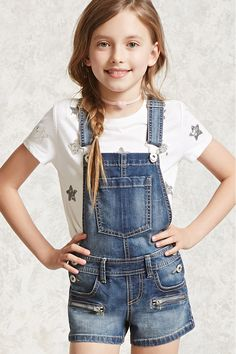 Forever 21 Girls - A pair of denim overalls featuring a front bib pocket, adjustable shoulder straps, belt loops, button sides, front zipper accents, front pockets, and back patch pockets.