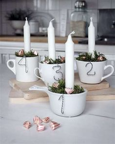 New takes on the traditional Advent Wreath. Celebrate Christmas with a new tradition and make your own DIY Advent wreath. Noel Christmas, All Things Christmas, Winter Christmas, Christmas Crafts, Christmas Decorations, Xmas, Handmade Christmas, Vintage Christmas, Christmas Ideas