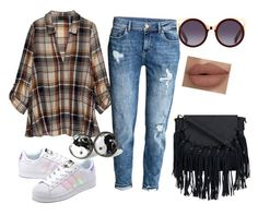 """street style"" by maneesha1 on Polyvore featuring Bobeau, adidas Originals, StreetStyle, adidas, boyfriendjeans, sneakers and plaidshirt"