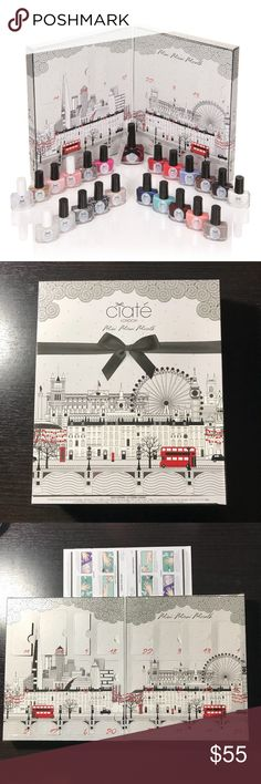 Ciate Mini Mani Month *Holiday Gift Set **Ciaté London 24-Piece Mini Mani Month Set w/ Bonus O-Shine Top Coat & Base Coat Duo** 17 Ciaté mini Paint Pots, 2 nail toppers, 3 treatments, a mini crystal nail file, and of course a full size exclusive paint. (Google for full colors description!)  Receive as gift and opened to see the colors but never used.  Retail price: $79 ciaté Makeup Brushes & Tools
