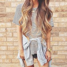 casual, striped tee, denim shirt, black shorts