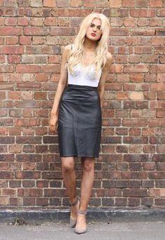 Vintage Black Leather Pencil Skirt Size UK 8 #asosmarketplace