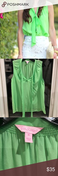 Lime Green Bow Tank Top!! Lily Pulitzer Classic Bow Tank Top!!! Lilly Pulitzer Tops Tank Tops