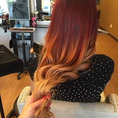 Red and blonde balayage ombre blended