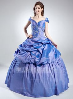 Quinceanera Dresses  - Ball-Gown Off-the-Shoulder Floor-Length Taffeta Quinceanera Dress With Ruffle Beading (021016022) http://jjshouse.com/Ball-Gown-Off-The-Shoulder-Floor-Length-Taffeta-Quinceanera-Dress-With-Ruffle-Beading-021016022-g16022?ver=xdegc7h0
