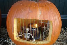 Carved pumpkin jail