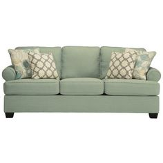 Ashley Daystar Fabric Sofa with Cushions ($880) ❤ liked on Polyvore featuring home, furniture, sofas, green, green couch, upholstered couch, striped couch, upholstery sofa and upholstered furniture