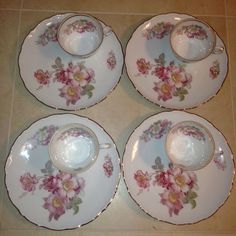 "Schumann Arzberg Germany ""Wild Rose"" Snack/Luncheon Set of 4 plates and 4 cups #SchumannArzbergGerman"