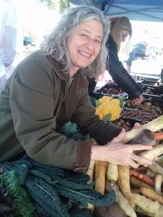 Shelley Boris picking out ingredients to use in her meals at the Garrison Institute.