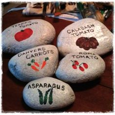 Painted Rock Garden Markers - started this project today while Chris was planting more tomatoes! tlawrence2012