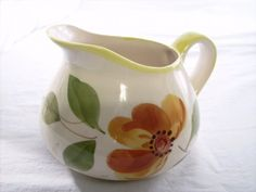 Portuguese Pitcher, Hand Painted Floral Motif in Harvest Colors