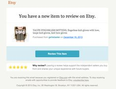 """Etsy """"you have a new item to review"""" email"""