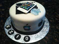 Apple iPhone cake Makeup Birthday Cakes, 16 Birthday Cake, Birthday Cakes For Teens, Cakes For Boys, Playstation Cake, Computer Cake, Iphone Cake, Apple Birthday, Extreme Cakes
