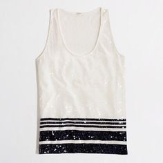 JCrew sequin tank! SALEGet ready to sparkle in this adorable sequin JCrew factory tank in white/cream & navy. You'll just love having this to mix & match. Cotton. Machine wash. Hang dry. J. Crew Tops Tank Tops