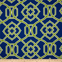 Richloom Malibar Marine Fabric (navy blue with lime green and white lattice), $9.98 per Yard