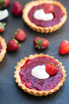 Strawberry Tartlets don't have overcooked strawberries. So the freshness of the berry can really shine through.