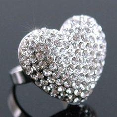 White Gold Sparkling 3D Heart Austrian Crystal Ring