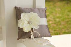 Wedding Pillow, ring pillow, purple ring pillow, ivory flower. $42.00, via Etsy.