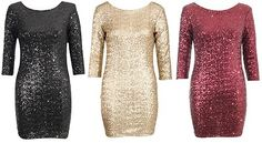 New Full Sequin 3 4 Sleeve Bodycon Party Dress Black Gold Red UK 8 10 12 14 £65 | eBay