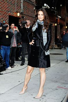 Katie Holmes in black trench