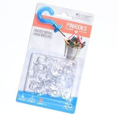 Pinhooks 20-Pack Klear Kindness Push Pin Wall Hooks, Transparent by Pinhooks?. $8.53. Installs instantly, just push in and start hanging!. Only makes a pin size hole, no nails, no tape, no mess. Made in USA. Pinhooks? hold up to 2 pounds in drywall, 4 pounds in solid wood. Easy to use wall hook. Pinhooks™ are the new simple and practical solution for hanging items in the home, office, workshop or outdoors. Pinhooks are push pins with a strong plastic hook, th...