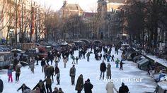 Nederland Schaatsen op de Amsterdamse grachten