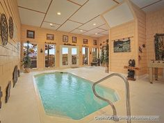 "Romantic Gatlinburg cabin with indoor pool and sauna. ""Wet N' Wild"" luxury 1-BR, sleeps 4, couple or small family."