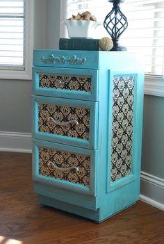 mod podge paper on furniture | mod podge dresser (just with scrapbook paper) | Furniture Makeover