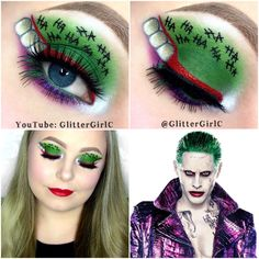 Suicide Squad The Joker Makeup (GlitterGirlC) Girls Makeup, Glam Makeup, Eye Makeup, Joker Makeup, Halloween Face Makeup, Holiday Costumes, Halloween Costumes, Halloween Ideas, Glitter Girl