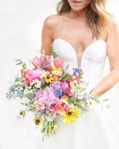 A colorful wildflower wedding bouquet by Urban Farm Girl Flowers in Asheville, NC Floral Wedding, Wedding Bouquets, Wedding Flowers, Wedding Dresses, Iconic Women, Boho Look, Wild Flowers, Bridal Gowns, Beautiful Flowers