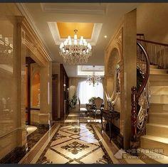 marble inlay floor, ceiling & chandelier, wood trimwork, wrought balusters