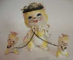 Vintage Lipper Mann Cat Figurine with Two Kittens Chained   eBay