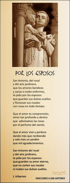 TARJETAS Y ORACIONES CATOLICAS: ORACIÓN POR LOS ESPOSOS (a San Antonio de Padua)