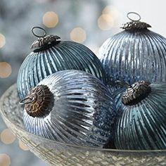 blue and silver Christmas decorations Coastal Christmas, Noel Christmas, Christmas Colors, All Things Christmas, White Christmas, Vintage Christmas, Christmas Decorations, Christmas Ornaments, Country Christmas