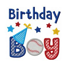 Instant Download Birthday Boy With Baseball Applique Machine Embroidery Design NO:1374