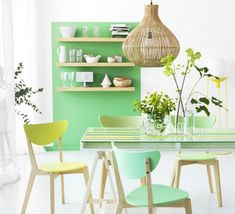 mint / pastel dining room