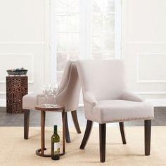 Safavieh En Vogue Dining Loire Linen Nailhead Espresso Dining Chairs (Set of 2)