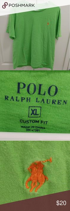 """Polo Ralph Lauren T-Shirt Stay preppy yet casual in this bright Polo t-shirt! Adorned in a bright green with an orange horse, this shirt is very soft and doesn't have a neck tag. However, I've listed it as a Large instead of an XL because it fits very small; I'm 6'5"""" with broad shoulders (36"""" arms) and a shorter torso, and this shirt barely covers my shoulders and torso. If you're smaller, this shirt would be great for you, as it's in excellent shape. Please make an offer today! Polo by…"""