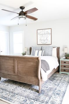 A dark and dated guest bedroom gets a cottage style makeover with serene shades of blue using Craigslist furniture and budget-friendly finds. Guest Bedroom Decor, Guest Bedrooms, Bedroom Sets, Guest Room, Master Bedroom, Bedroom Storage, Kids Bedroom, Bedding Sets, Cottage Style Bedrooms