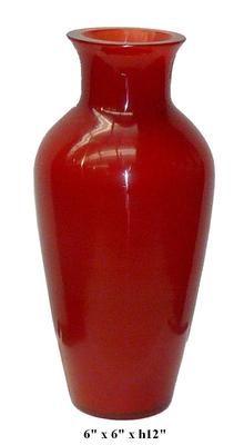 Chinese Wine Red Semitransparent Peking Glass Flower Vase f259