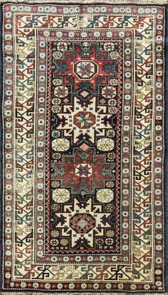 "3'3"" x 5'8""Stunning Antique Caucasian Lesghi Star Rug,Excellent Condition #15045 #Caucasion #Geometric"
