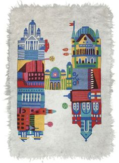 You can find this carpet, the following buildings from Helsinki: Cathedral, Finlandia house, house of Parliament, national Museum, (tram), Main Railway Station, National Theatre, Old Market Hall.  H is for Helsinki design Lotta Niemine for Tikau 2012. Size 125 x 175 cm. Hand made in India.